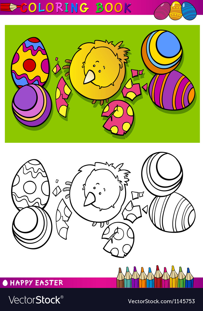 Easter chick cartoon for coloring vector | Price: 1 Credit (USD $1)