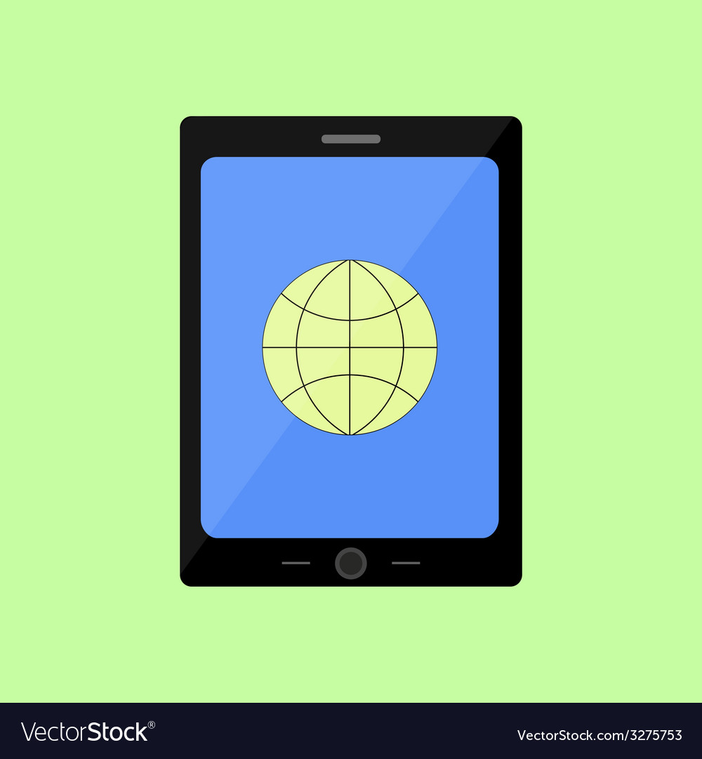 Flat style touch pad with internet icon vector | Price: 1 Credit (USD $1)