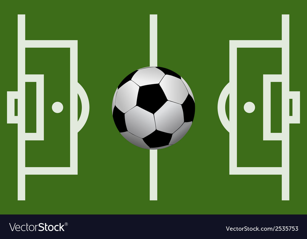 Football field with a soccer ball vector | Price: 1 Credit (USD $1)