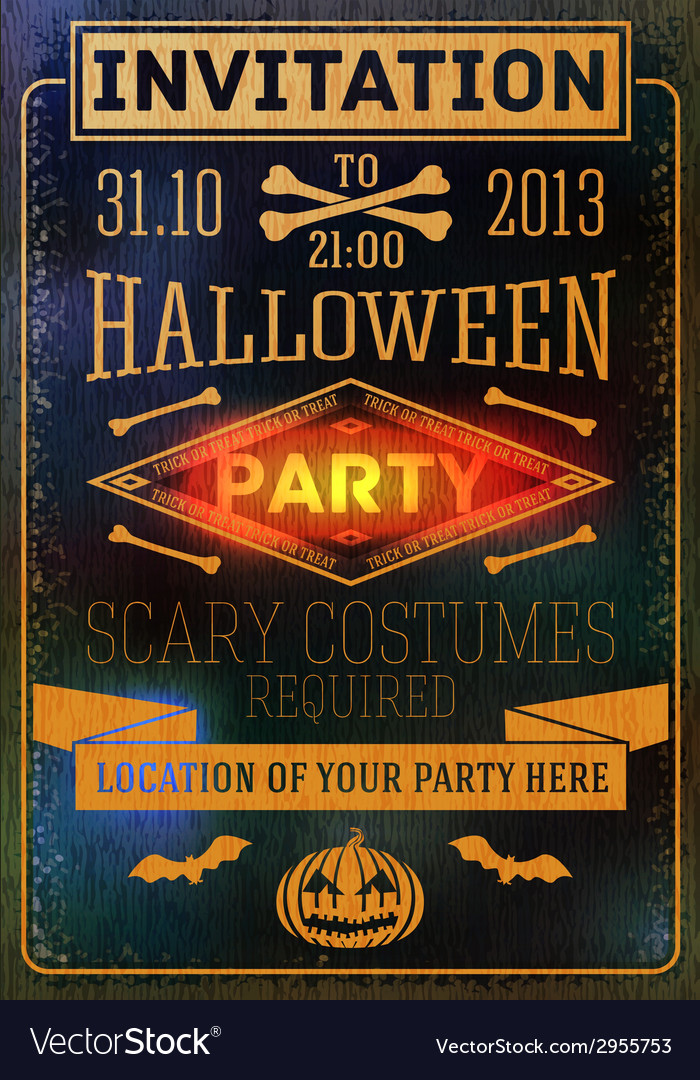 Invitation to halloween party with bats bones vector | Price: 1 Credit (USD $1)