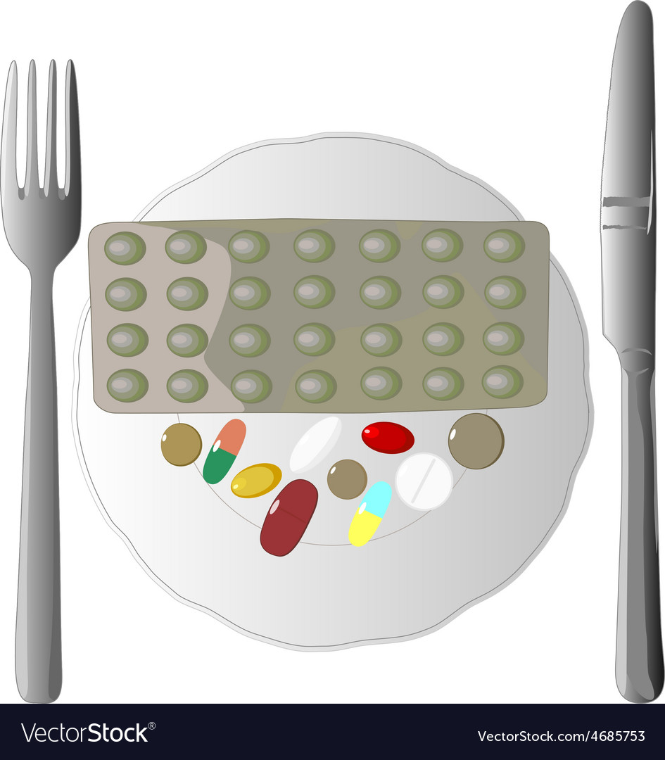 Isolated of fork knife and pills vector
