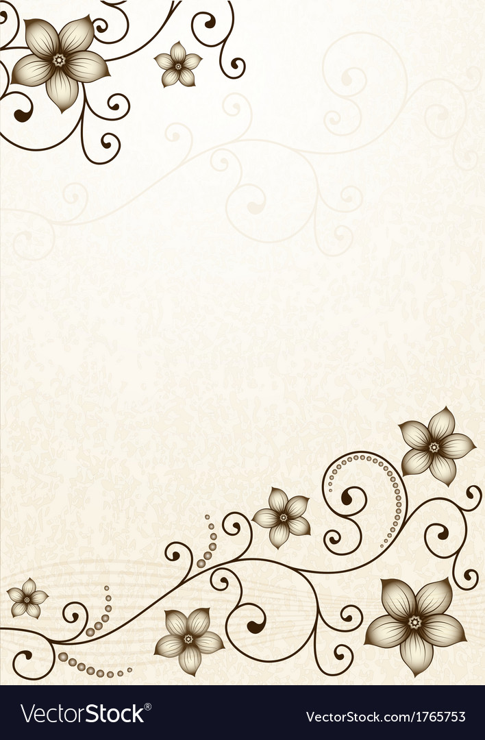 Old yellow paper with floral pattern vector | Price: 1 Credit (USD $1)