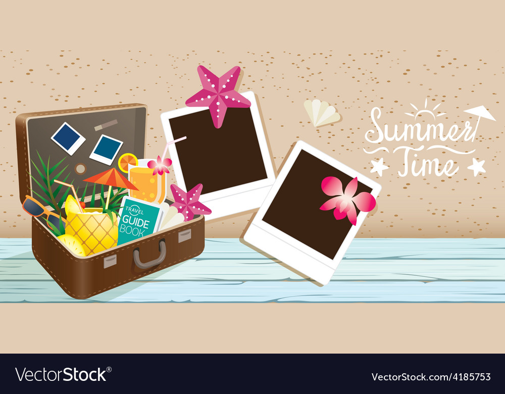 Suitcase and summer objects with frame vector | Price: 3 Credit (USD $3)