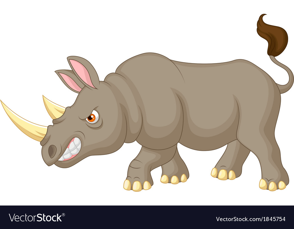 Angry rhino cartoon character vector | Price: 1 Credit (USD $1)