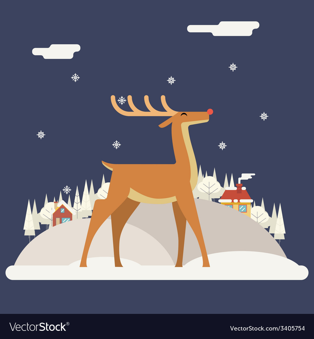Deer rudolph winter snow countryside landscape vector | Price: 1 Credit (USD $1)