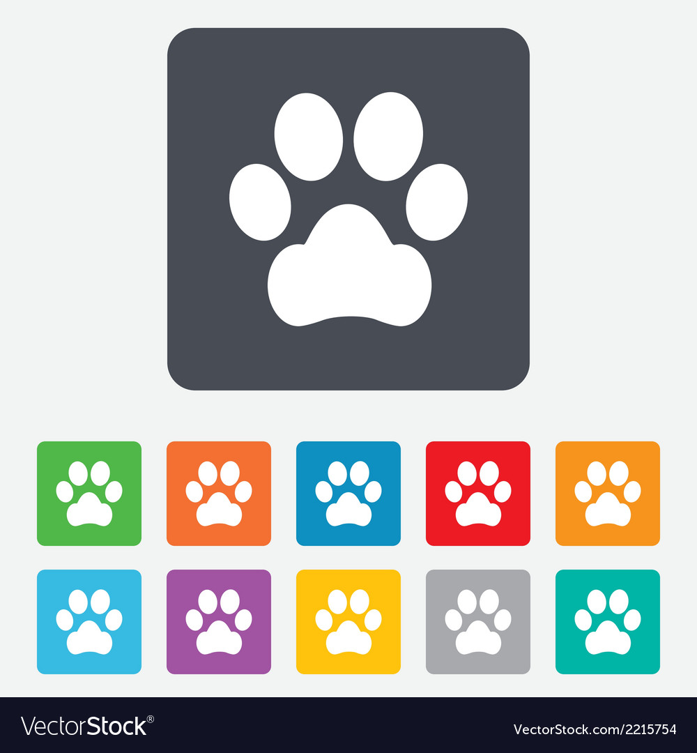 Dog paw sign icon pets symbol vector | Price: 1 Credit (USD $1)