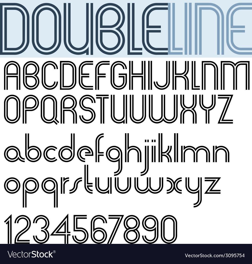 Double line retro style geometric font light vector   Price: 1 Credit (USD $1)