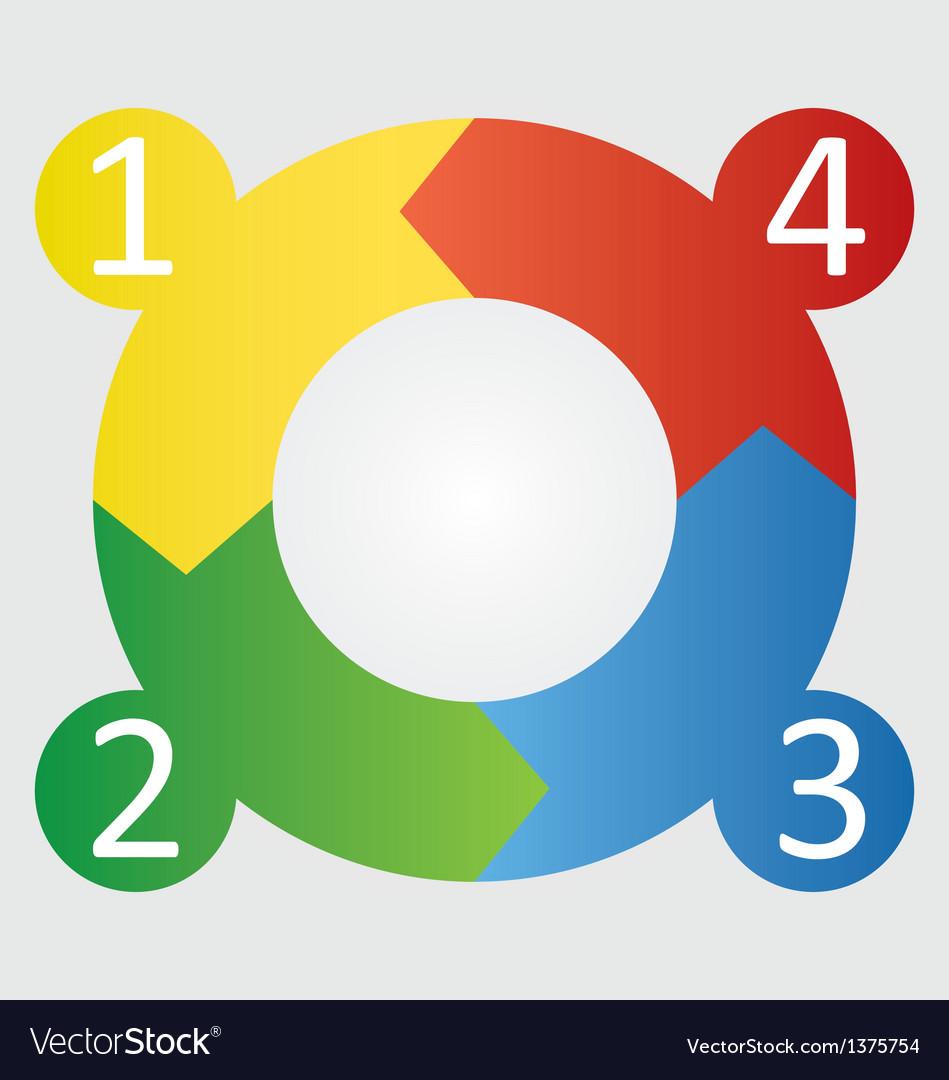 Four step round diagram vector | Price: 1 Credit (USD $1)