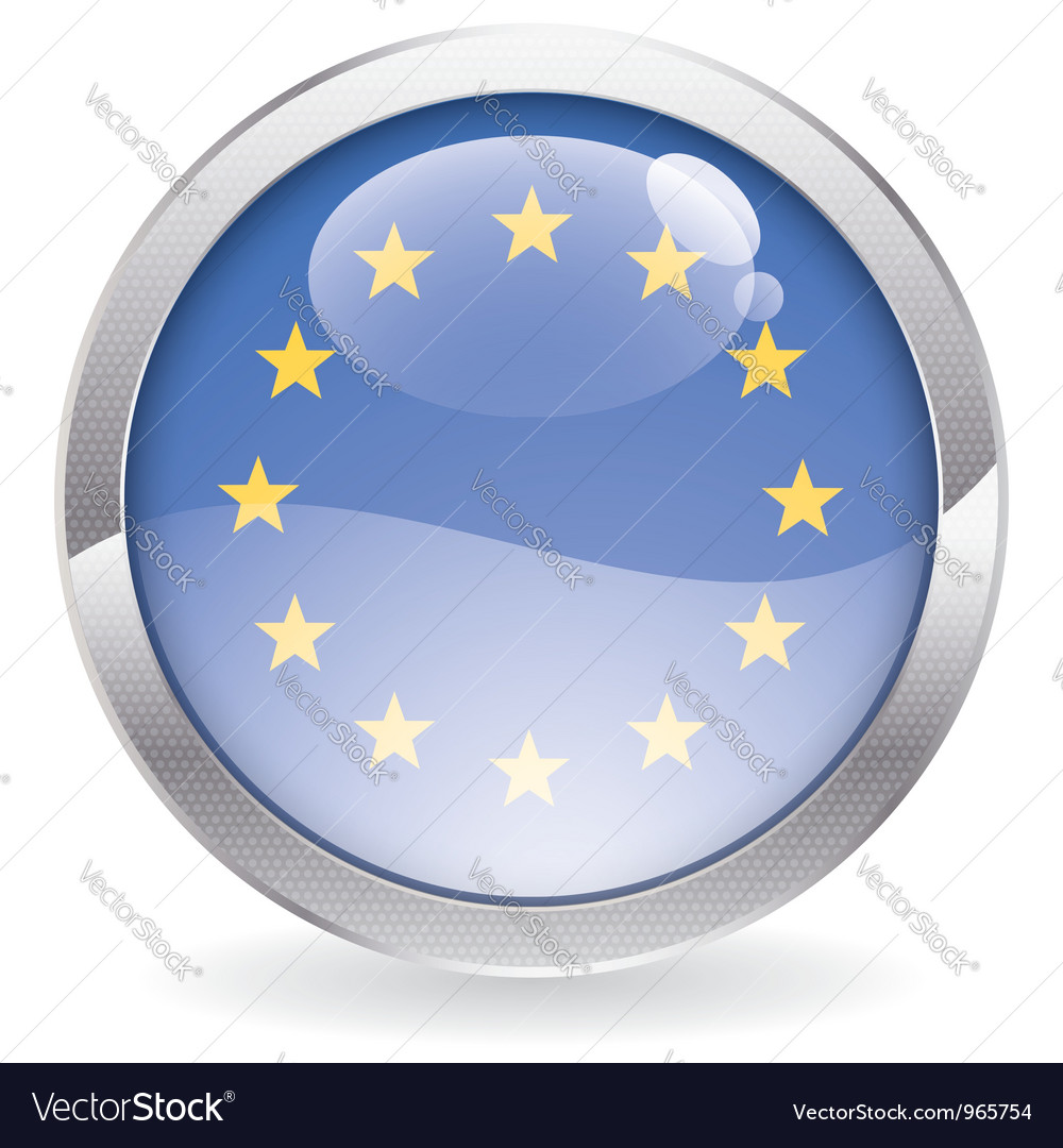 Gloss button with eu flag vector | Price: 1 Credit (USD $1)