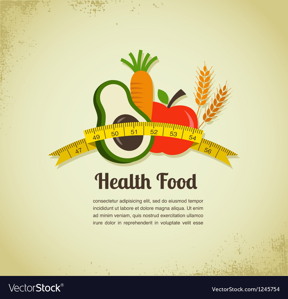 Health food and diet background with measure tape vector | Price: 1 Credit (USD $1)
