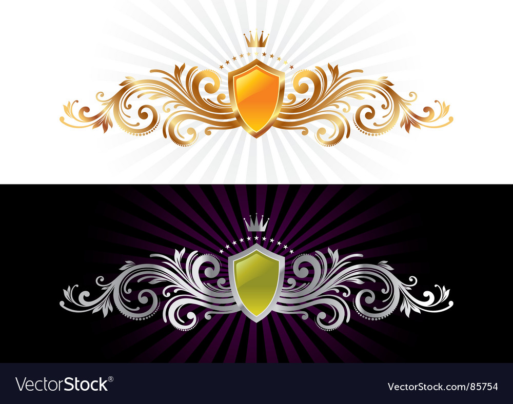 Heraldic with shield and ornament vector | Price: 1 Credit (USD $1)