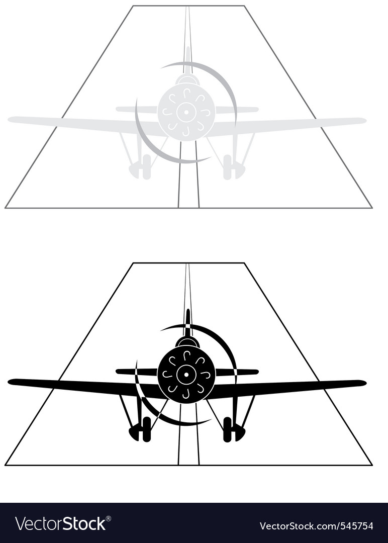 Monoplane on airport vector | Price: 1 Credit (USD $1)