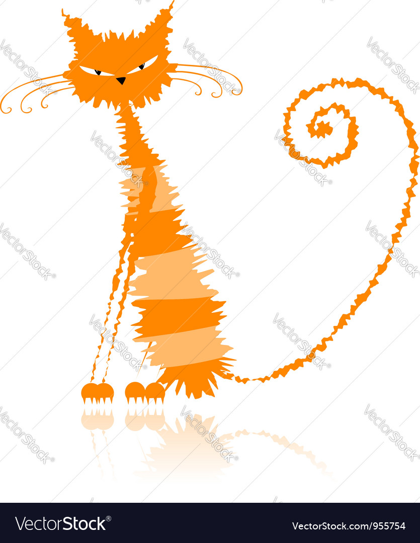 Orange wet cat vector | Price: 1 Credit (USD $1)