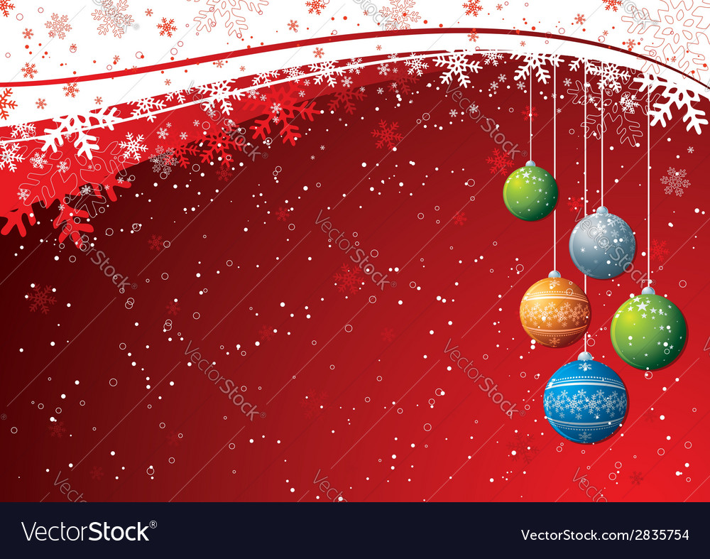 Red background with christmas ball vector | Price: 1 Credit (USD $1)