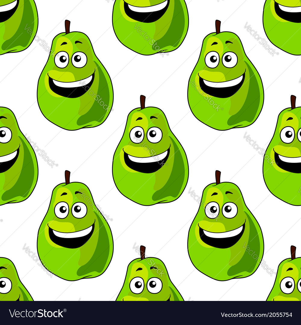 Seamless pattern of happy green pears vector | Price: 1 Credit (USD $1)