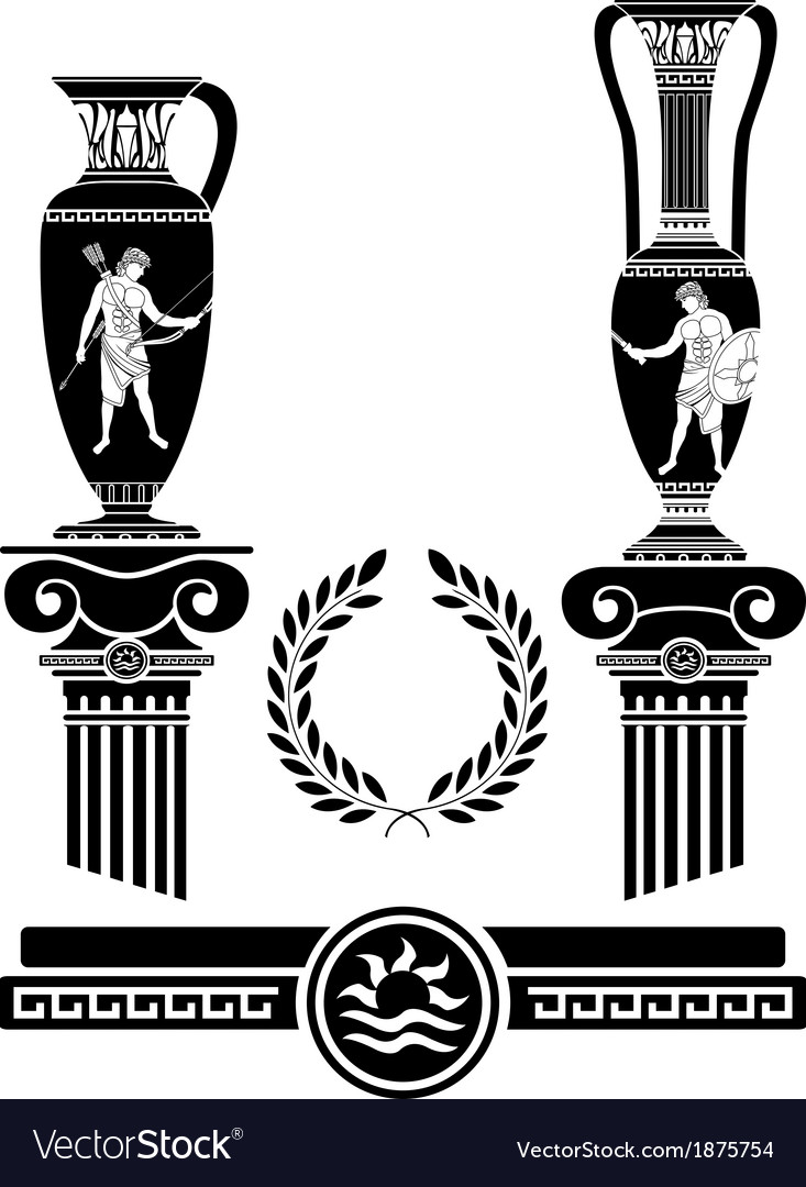 Stencil of ancient columns and jugs vector | Price: 1 Credit (USD $1)