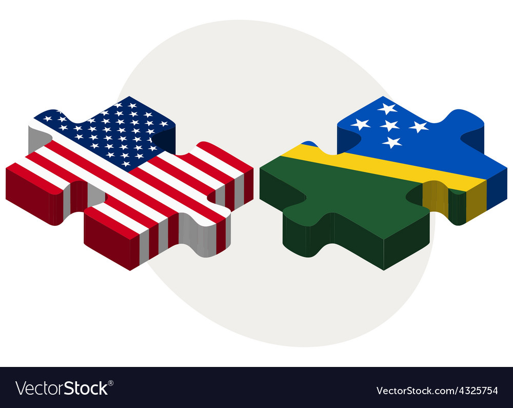 Usa and solomon islands flags in puzzle vector | Price: 1 Credit (USD $1)