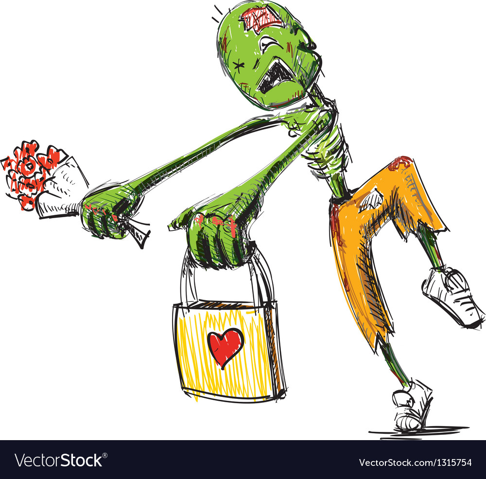 Zombie with flowers and present isolated on white vector | Price: 1 Credit (USD $1)