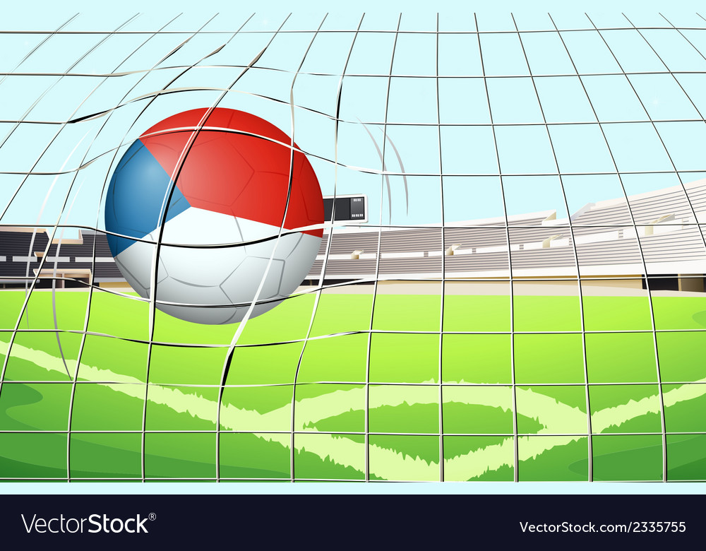 A ball at the field with the flag of netherlands vector | Price: 1 Credit (USD $1)