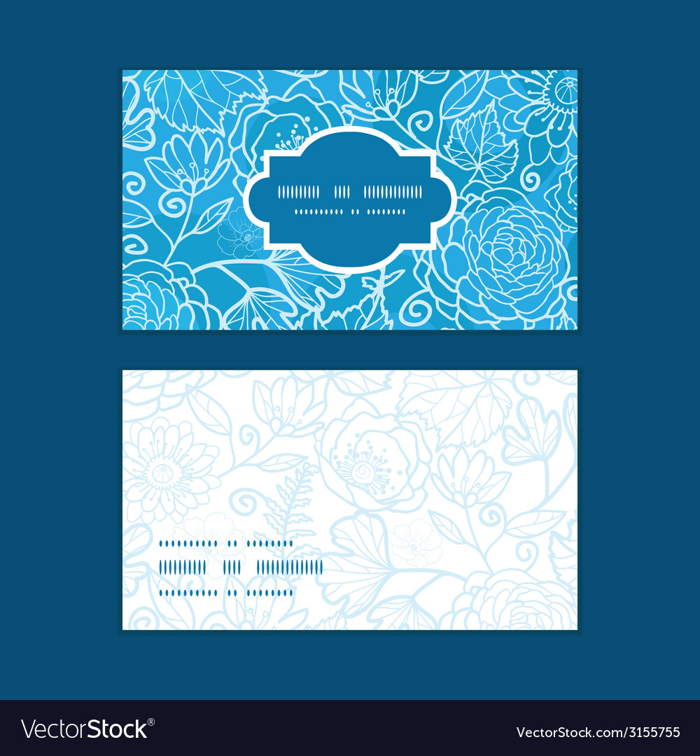 Blue field floral texture horizontal frame pattern vector | Price: 1 Credit (USD $1)