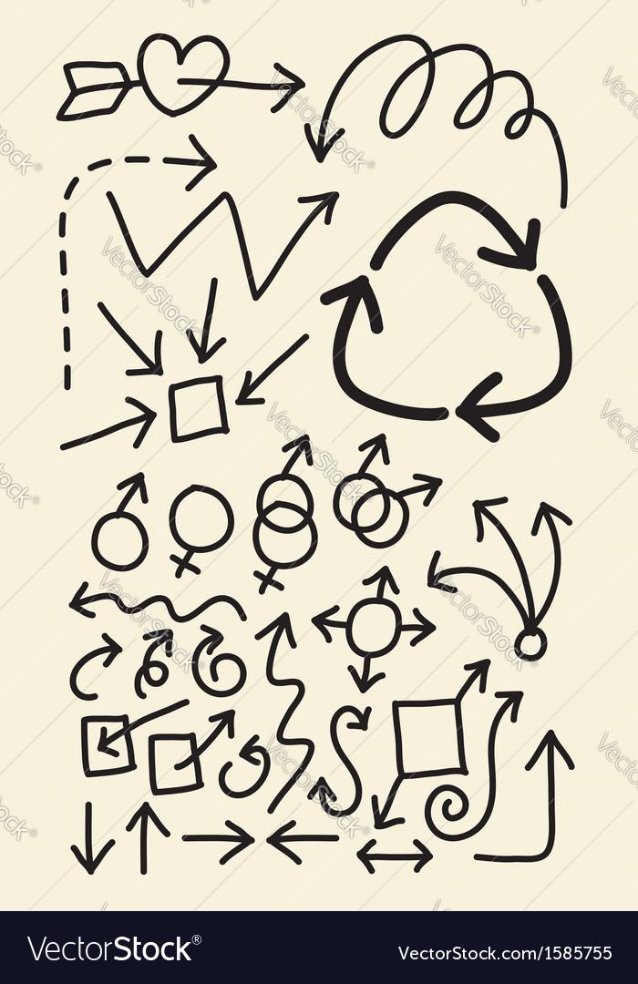 Doodle arrow hand drawing symbols vector | Price: 1 Credit (USD $1)