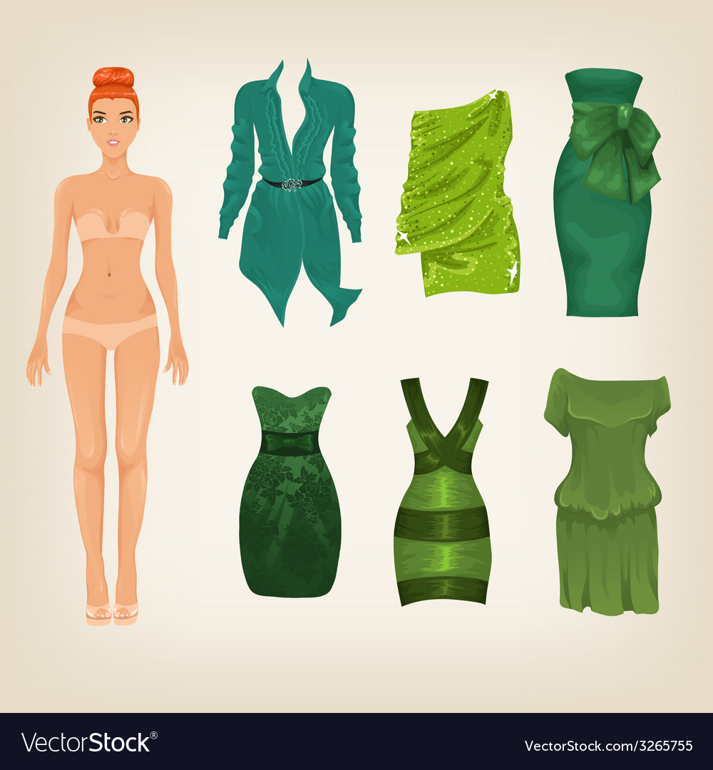 Dress up paper doll with an assortment of green vector | Price: 1 Credit (USD $1)