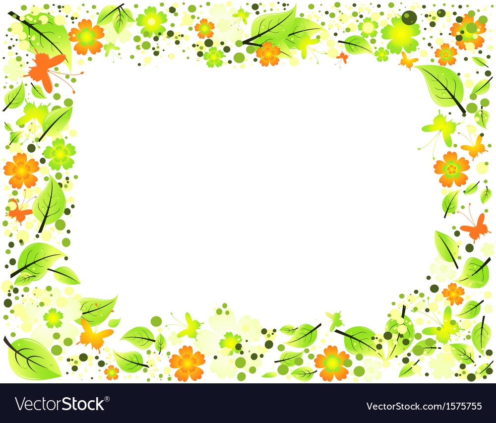 Frame from abstract leaves flowers and butterflies vector | Price: 1 Credit (USD $1)