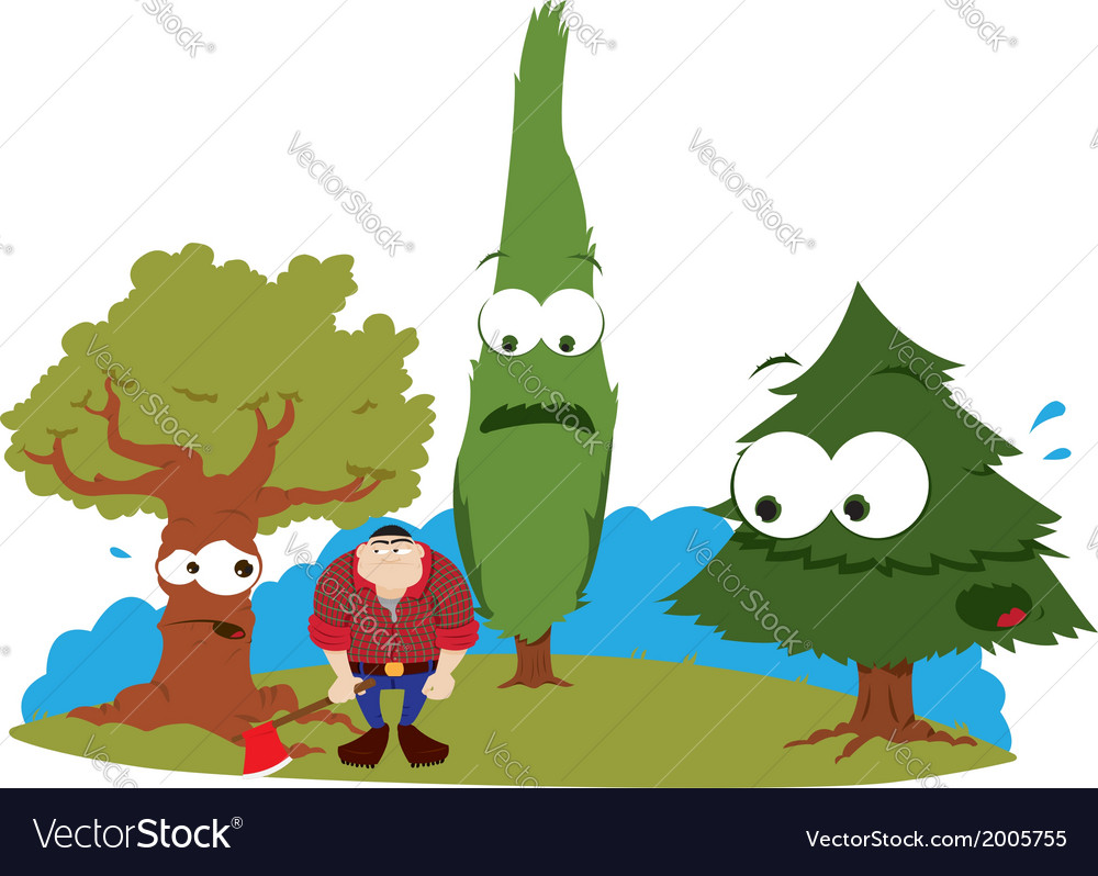 Funny trees and logger vector | Price: 1 Credit (USD $1)