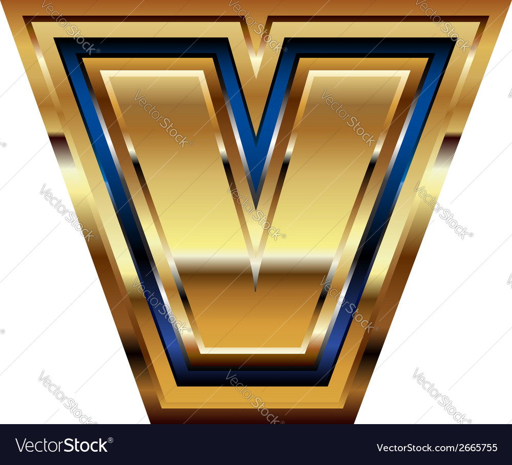 Golden font letter v vector | Price: 1 Credit (USD $1)