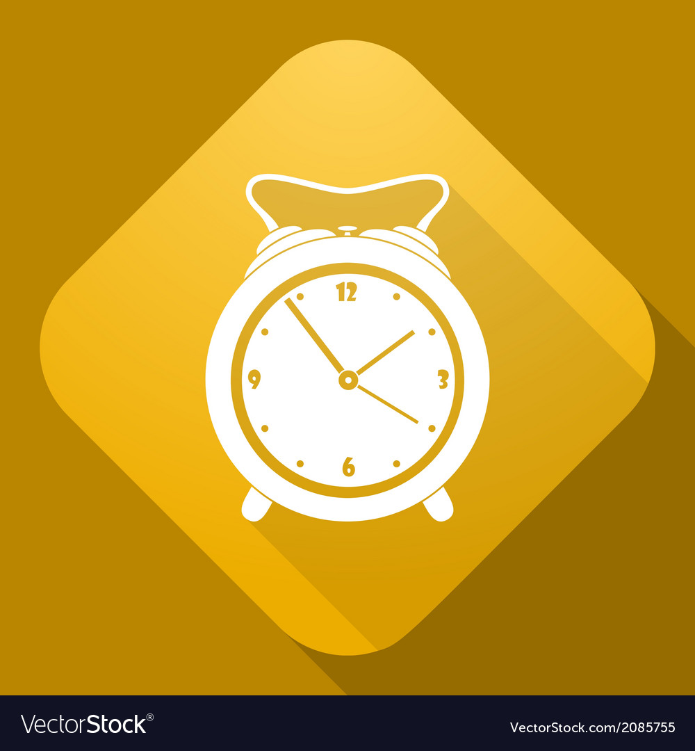 Icon of alarm clock with a long shadow vector | Price: 1 Credit (USD $1)