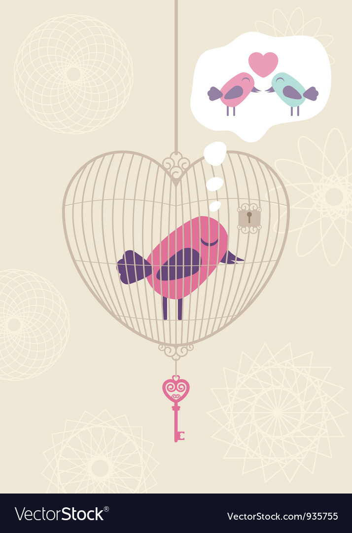 Love cage with lonely bird vector | Price: 1 Credit (USD $1)