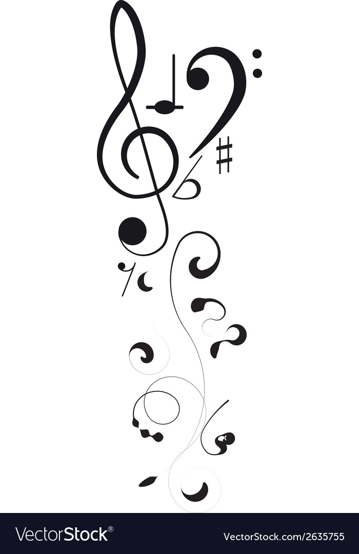 Music treble clef and notes for your design vector | Price: 1 Credit (USD $1)