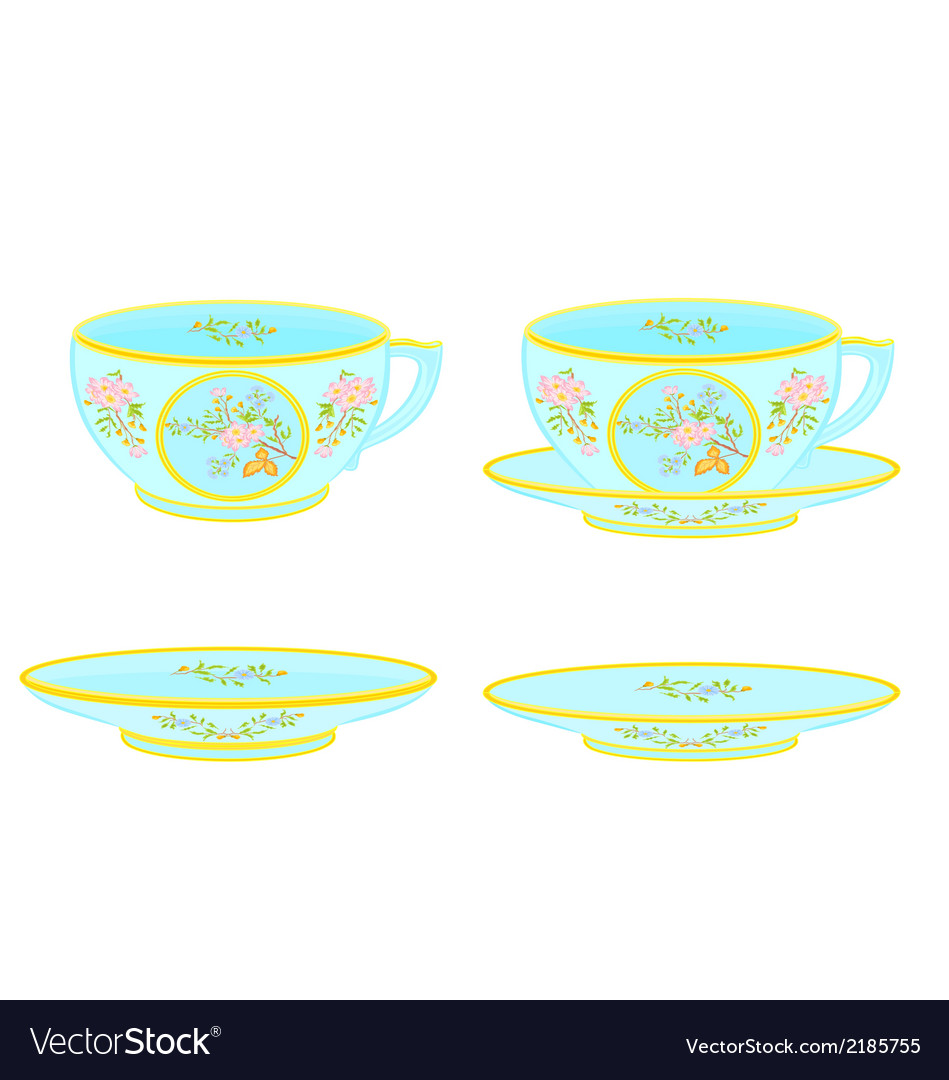 Porcelain tea cup and saucer with floral pattern vector | Price: 1 Credit (USD $1)