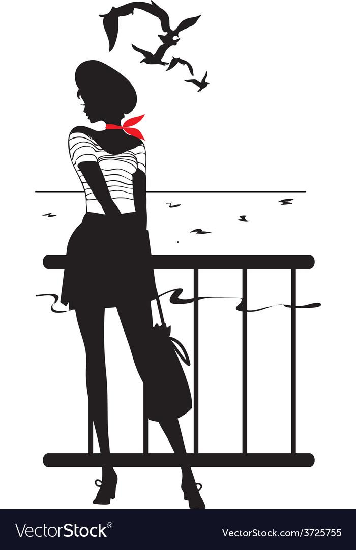 Retro woman silhouette vector | Price: 1 Credit (USD $1)