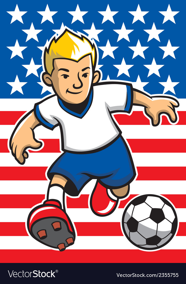 Usa soccer player with flag background vector | Price: 1 Credit (USD $1)