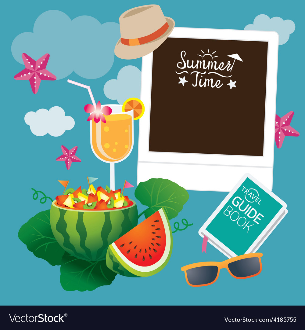 Watermelon fruit and summer objects with frame vector | Price: 3 Credit (USD $3)