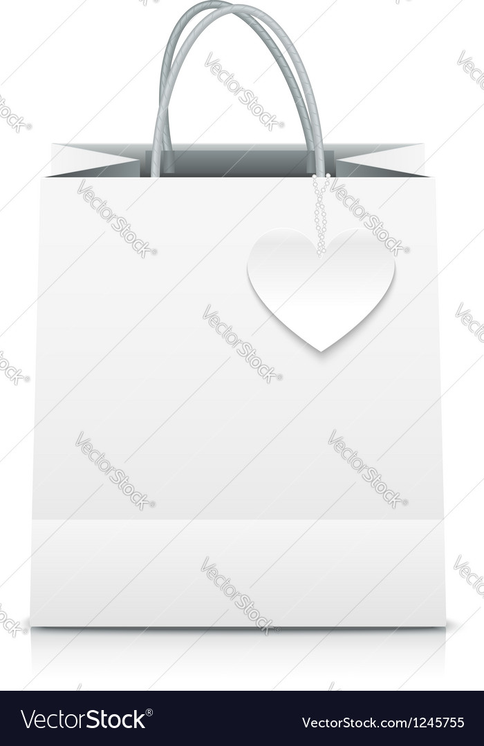 White paper shopping bag with heart label vector | Price: 1 Credit (USD $1)