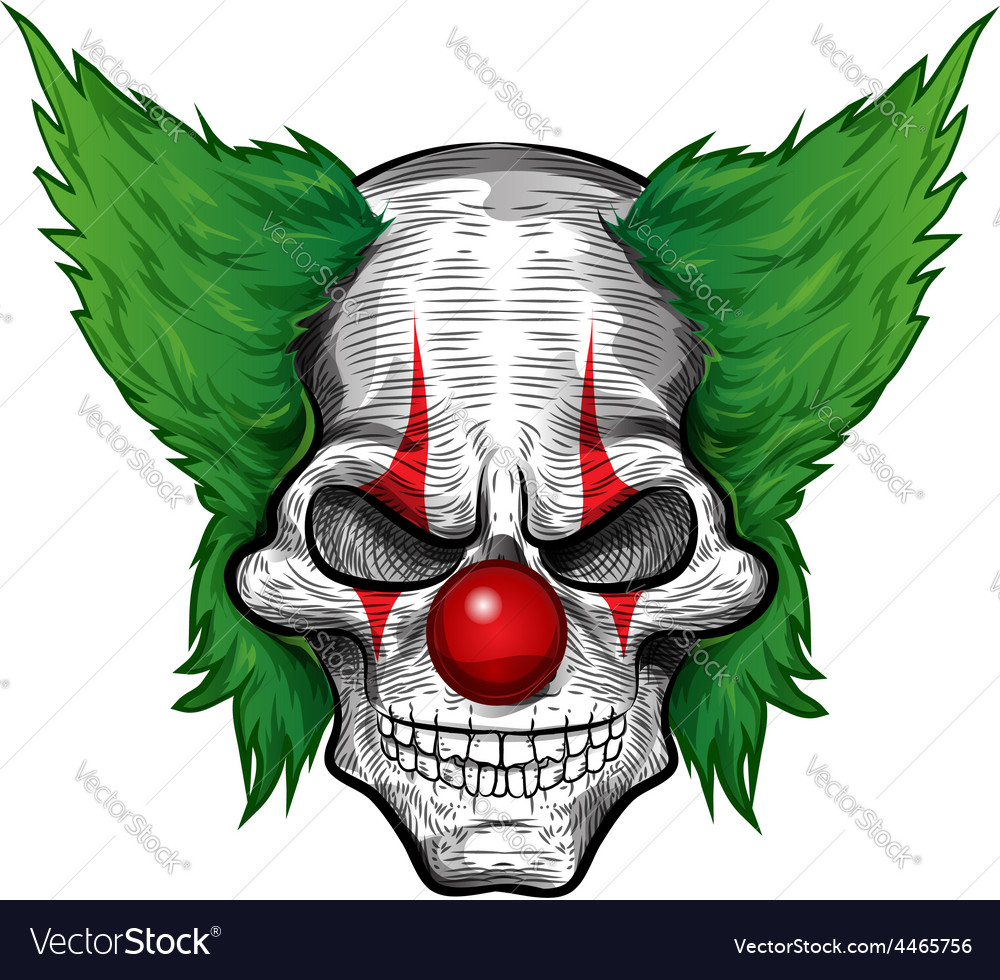Clown skull isolated on white background vector