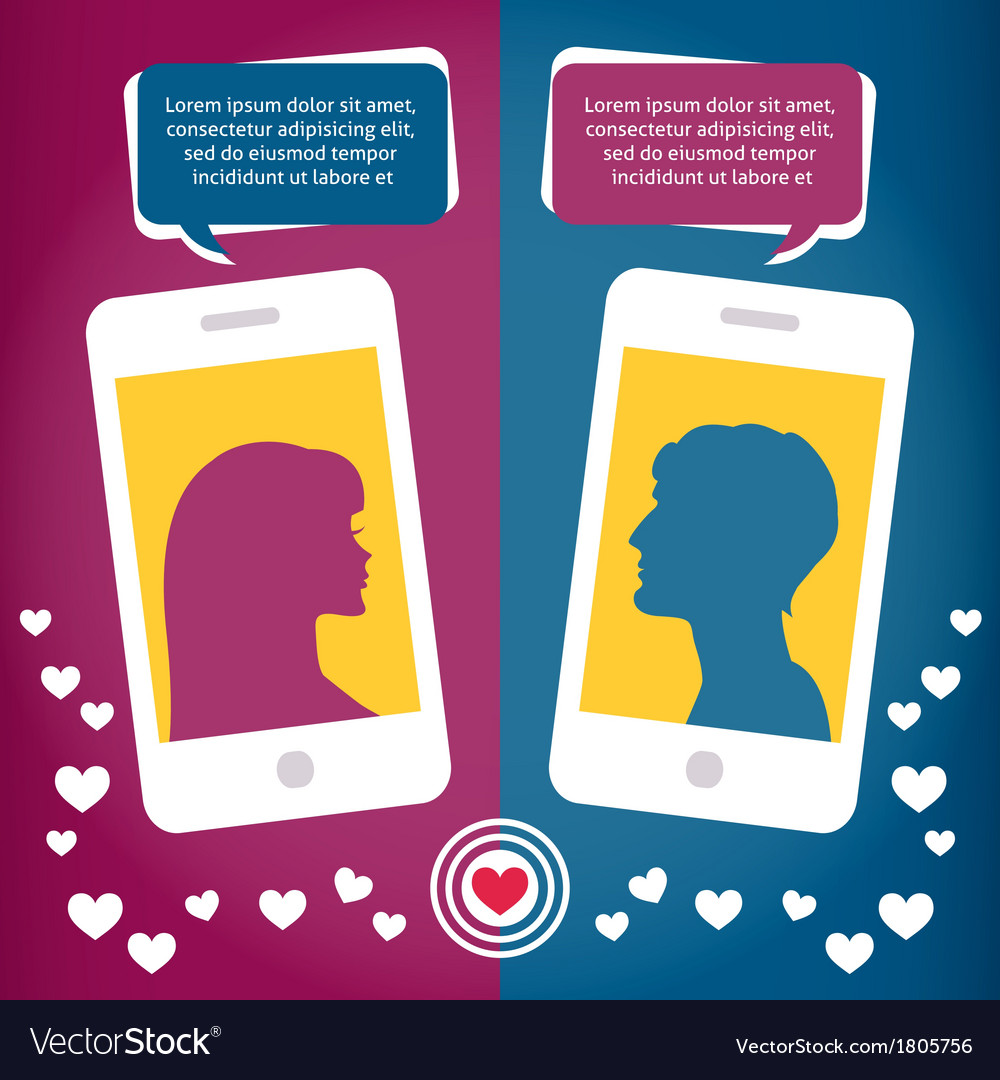 Couple virtual love talking using mobile phone vector | Price: 1 Credit (USD $1)