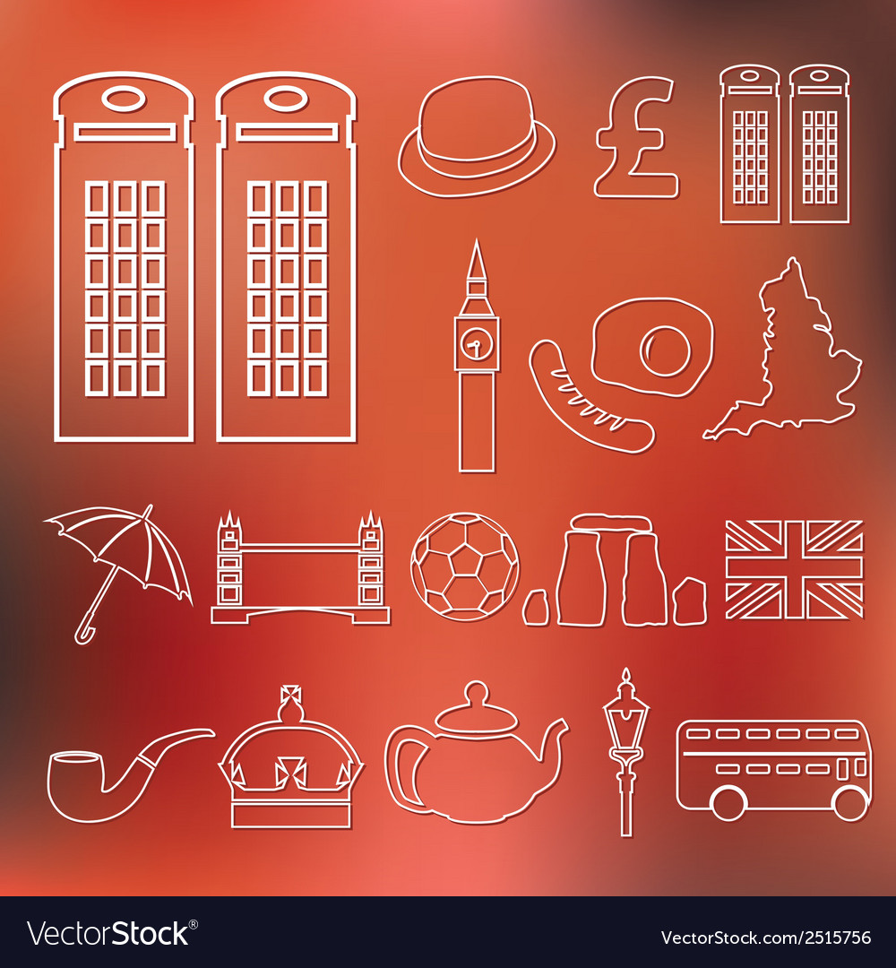 England outline icons vector | Price: 1 Credit (USD $1)