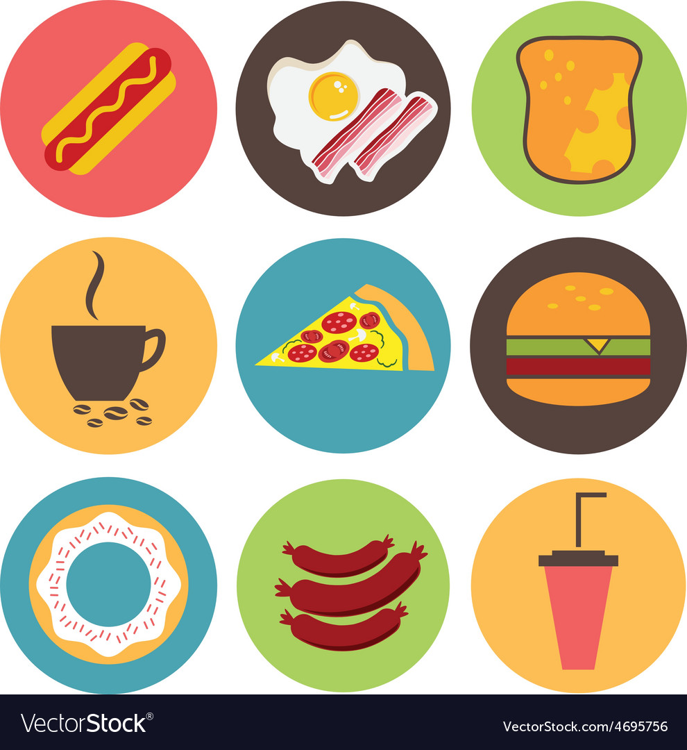 Fast food icons set for menu cafe and restaurant vector | Price: 1 Credit (USD $1)