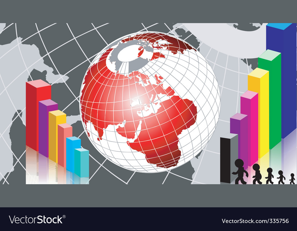 Graph and globe vector | Price: 1 Credit (USD $1)