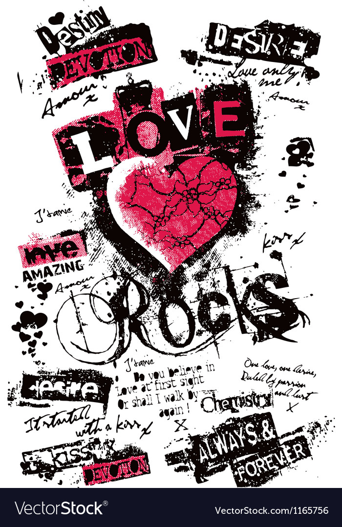 Heart love grungy texture vector | Price: 1 Credit (USD $1)