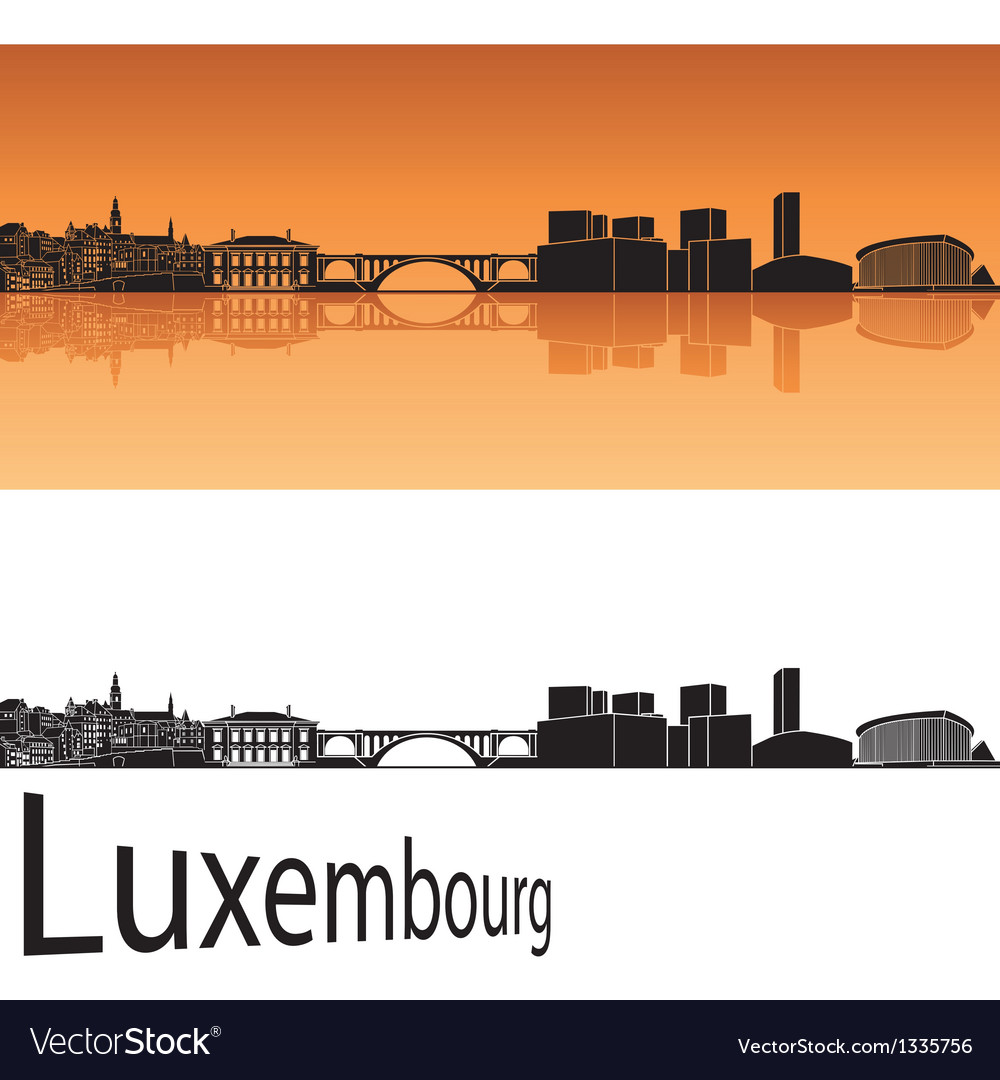 Luxembourg skyline in orange background vector | Price: 1 Credit (USD $1)