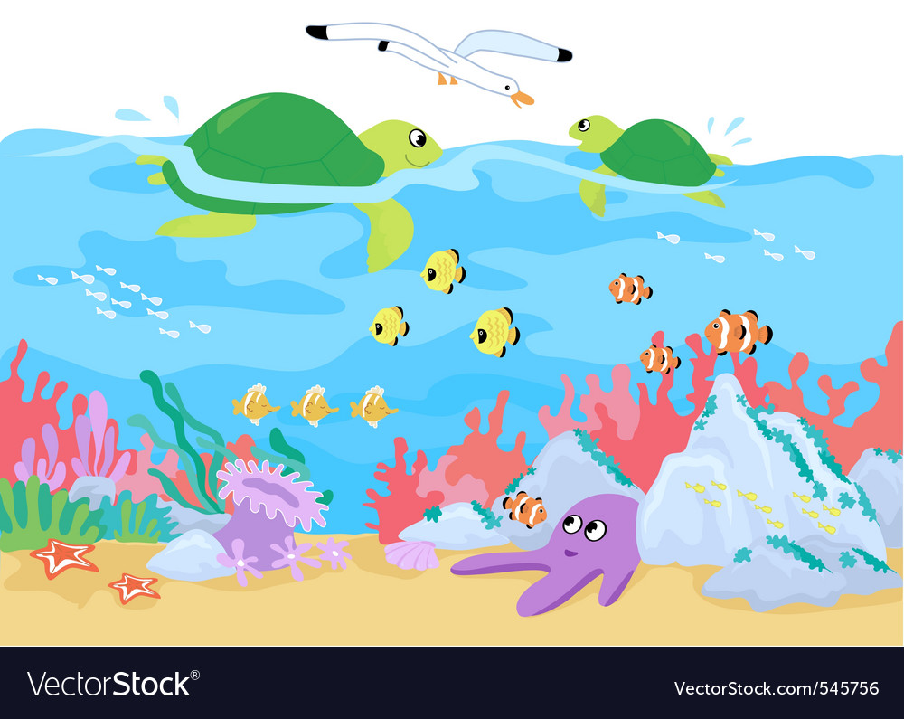 Marine life underwater vector | Price: 1 Credit (USD $1)