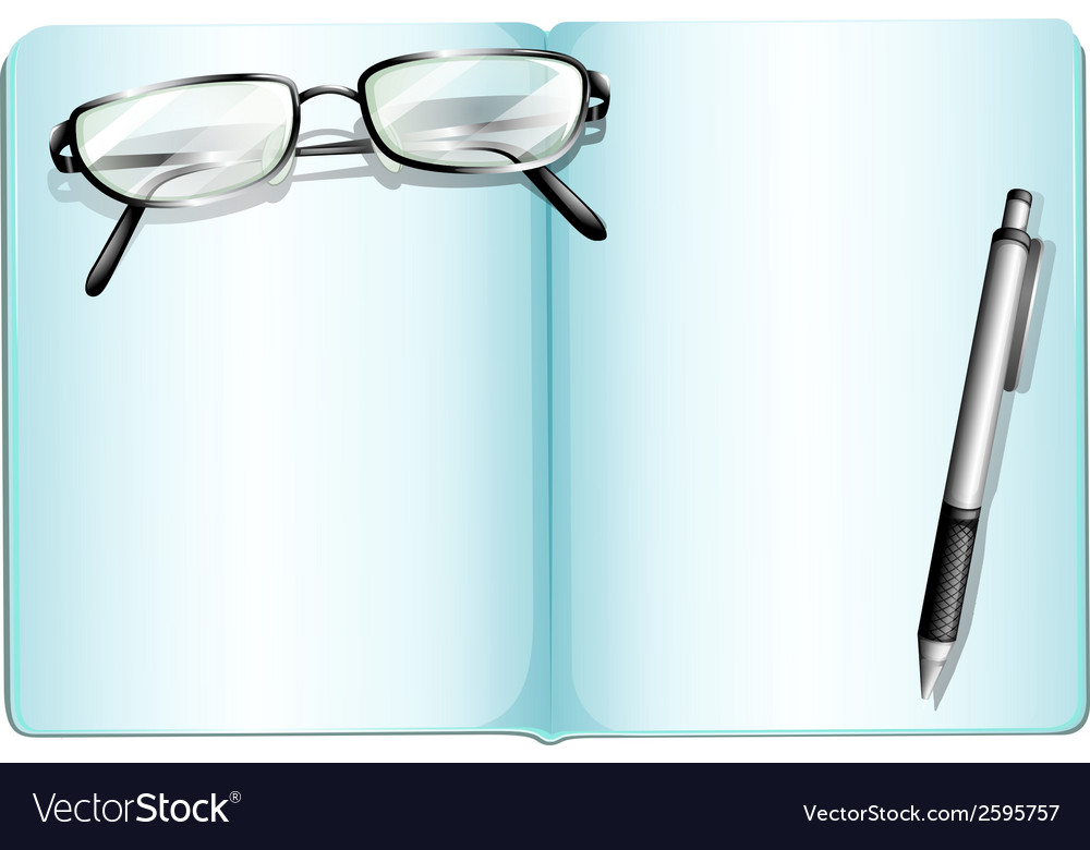 An empty notebook with an eyeglass and a pen vector | Price: 1 Credit (USD $1)
