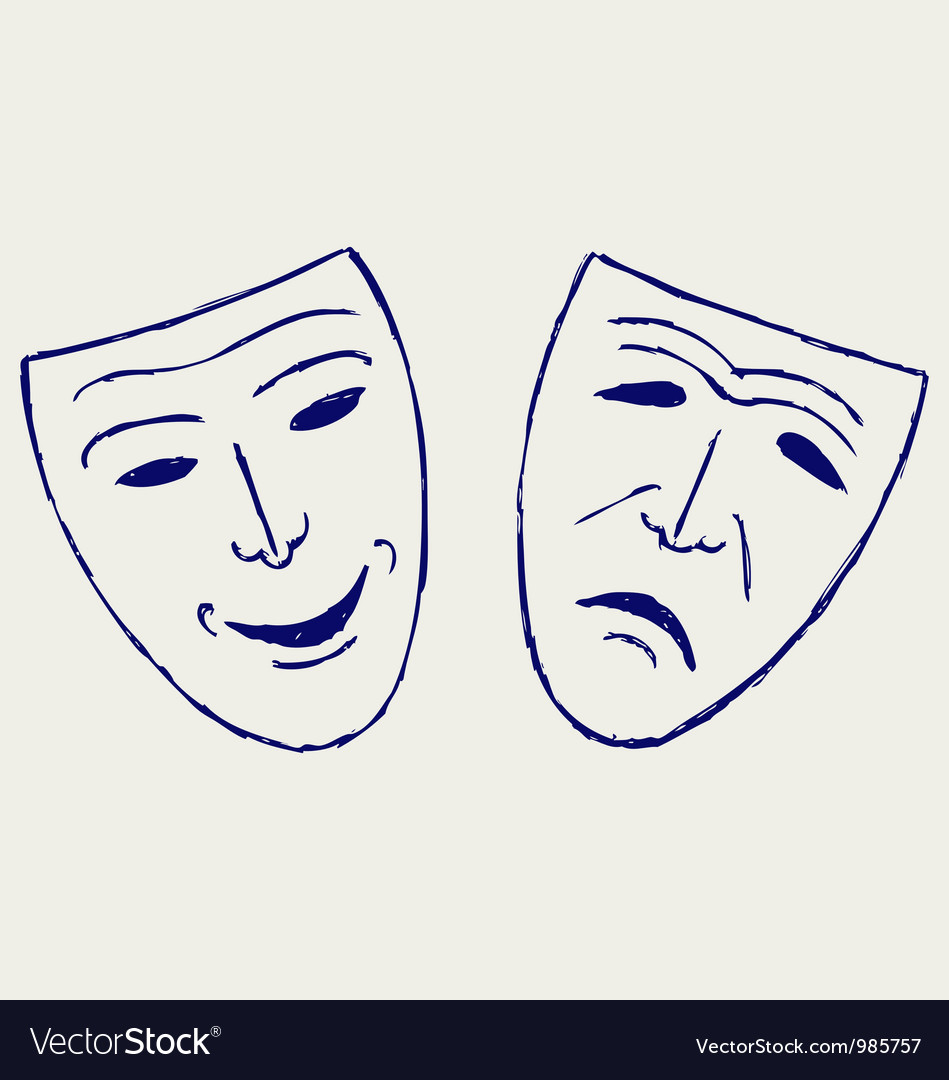 Classic comedy-tragedy theater masks vector | Price: 1 Credit (USD $1)