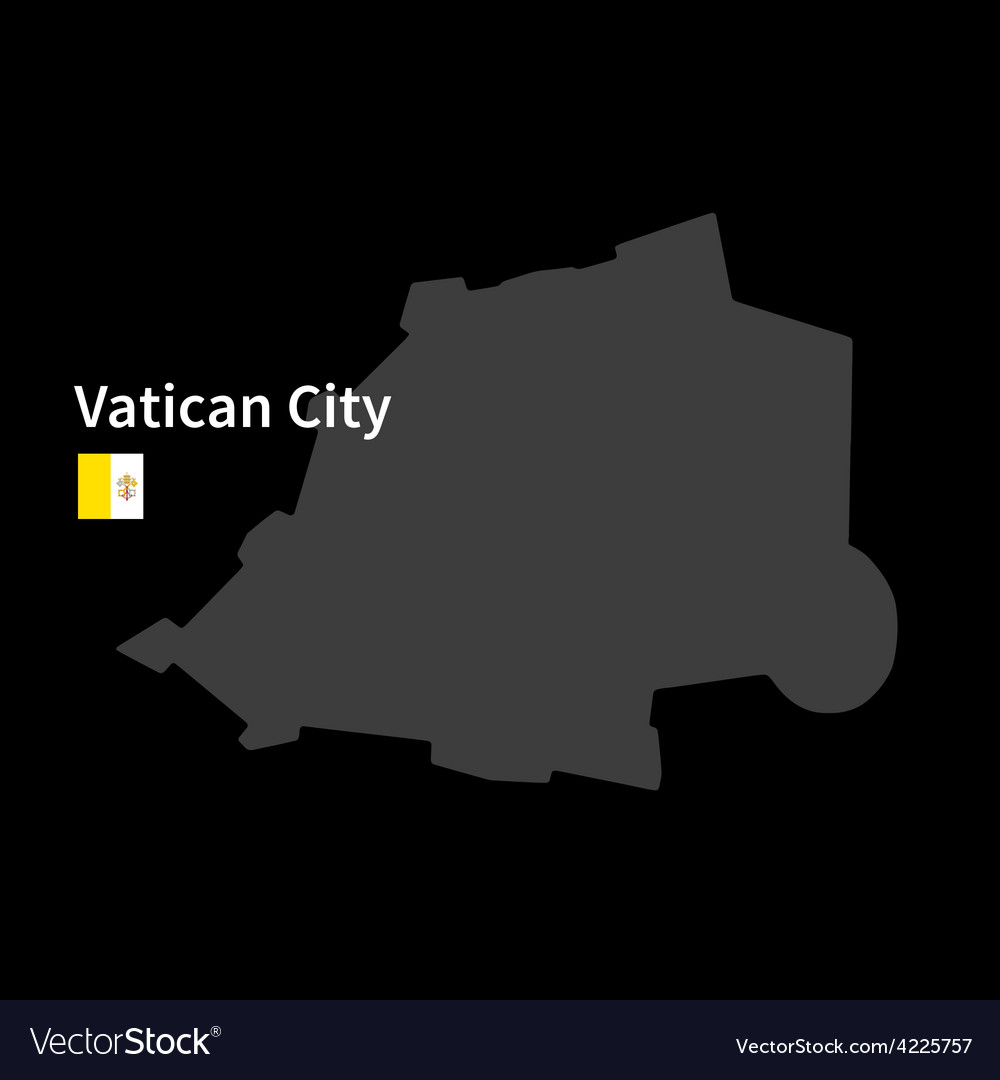 Detailed map of vatican city with flag on black vector | Price: 1 Credit (USD $1)