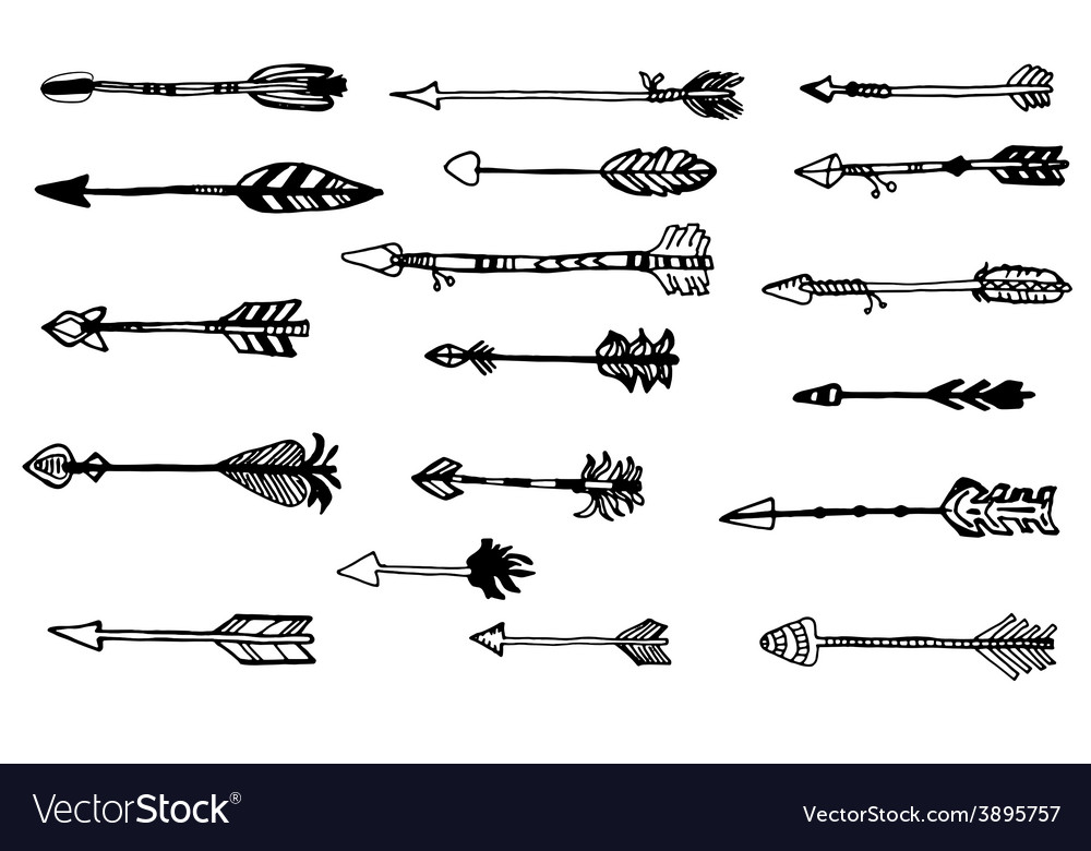 Doodle hand drawn arrows set vector | Price: 1 Credit (USD $1)