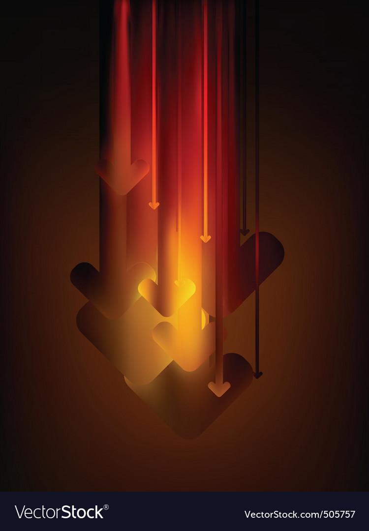 Graph arrows move down in glow color eps 8 vector | Price: 1 Credit (USD $1)
